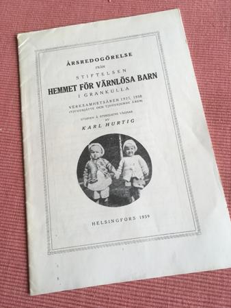 Årsredogörelse från Stiftelsen Hemmet för värnlösa barn i Grankulla åren 1937 och 1938