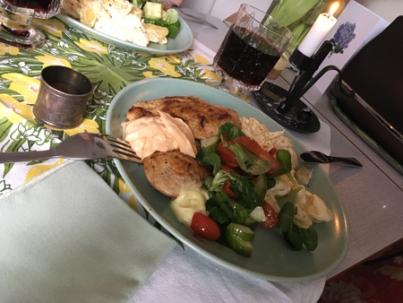 Kyckling potatisgratäng grönsaker och chianti