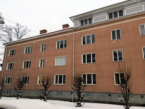 Rosa hus på Höganäsgatan