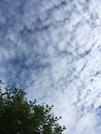 Uppsprickande moln på himlen